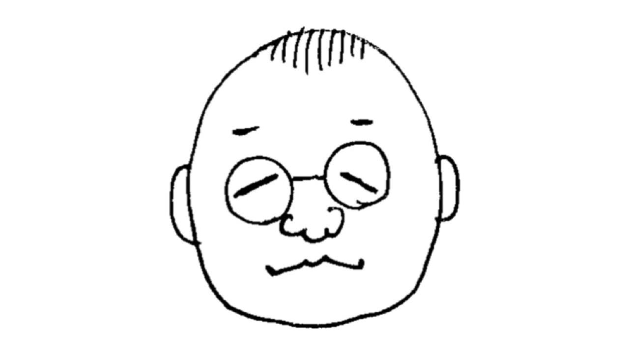 おかっぱミユキが10秒で描いた、WEBマーケティングスペシャリストの「いでじん」氏の似顔絵。